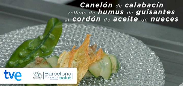 La ciencia de la salud – Canelón de calabacín relleno de humus de guisantes al cordón de aceite de nueces